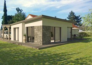Agrandissement maison contemporaine toit plat et parement pierre