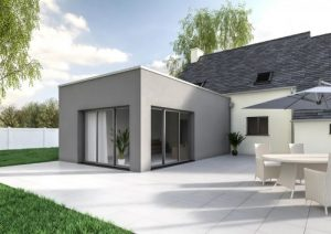 extension maison contemporaine cube modele bloom - Agrandissement Maison Toit Plat