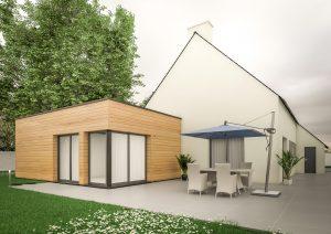 Extension maison contemporaine cube bois modèle Kubik