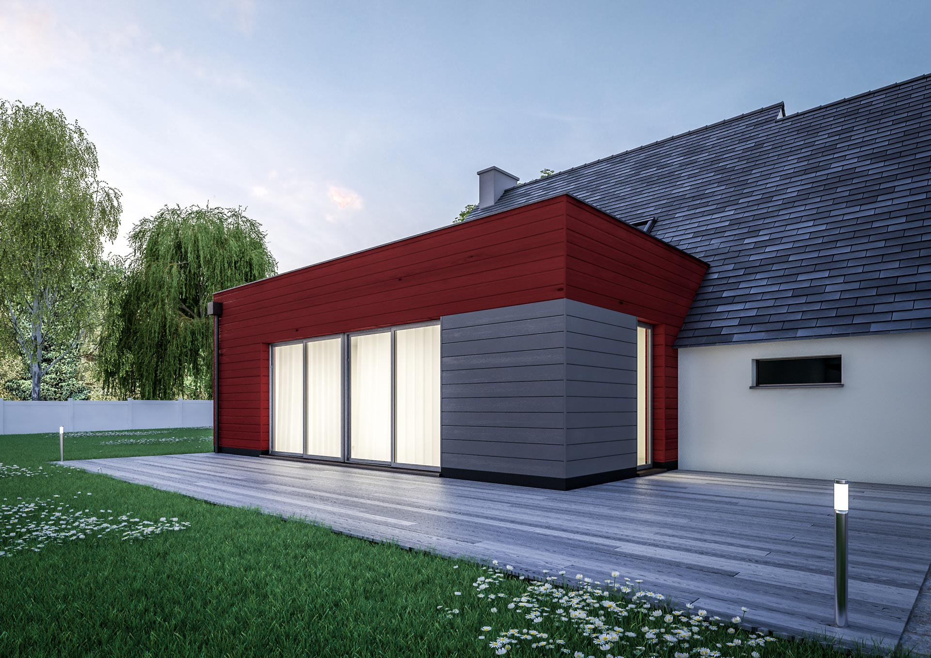 Stunning extension maison cube modele ground with modele for Exemple facade maison