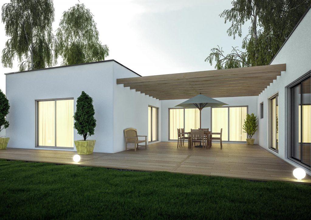 Extension maison design pergola terrasse