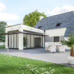 Extension de maison design : esprit veranda avec ses grandes baies vitrées