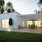 Extension d'une maison design et moderne avec terrasse en bois et pergola