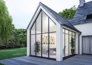 Extension de maison traditionnelle vitrée