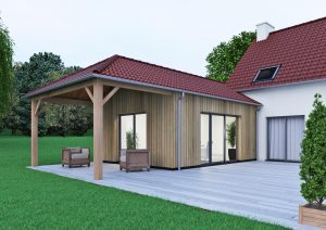 Extension de maison traditionnelle préau bois