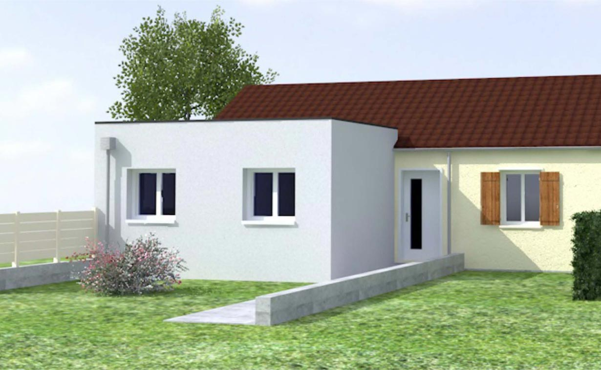 Extension de maison dans la marne cybel extension reims - Maison garage toit plat ...
