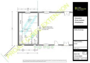 plan 2d d'une extension de maison