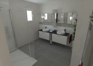 vue 3d intérieure d'une salle de bain dans une extension de maison