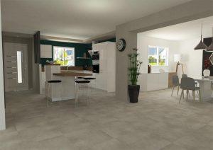 vue 3d intérieure d'un salon-séjour et d'une cuisine dans une extension de maison