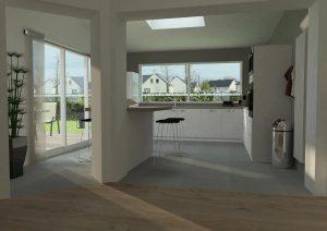 vue 3d intérieure d'une cuisine dans une extension de maison