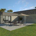 Agrandissement maison contemporaine cube zinc pierre modèle Bloom