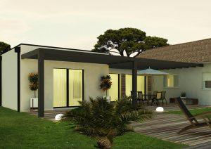 Agrandissement maison design pergola terrasse