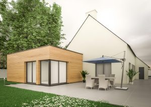 Extension maison contemporaine cube bois modèle Kubik