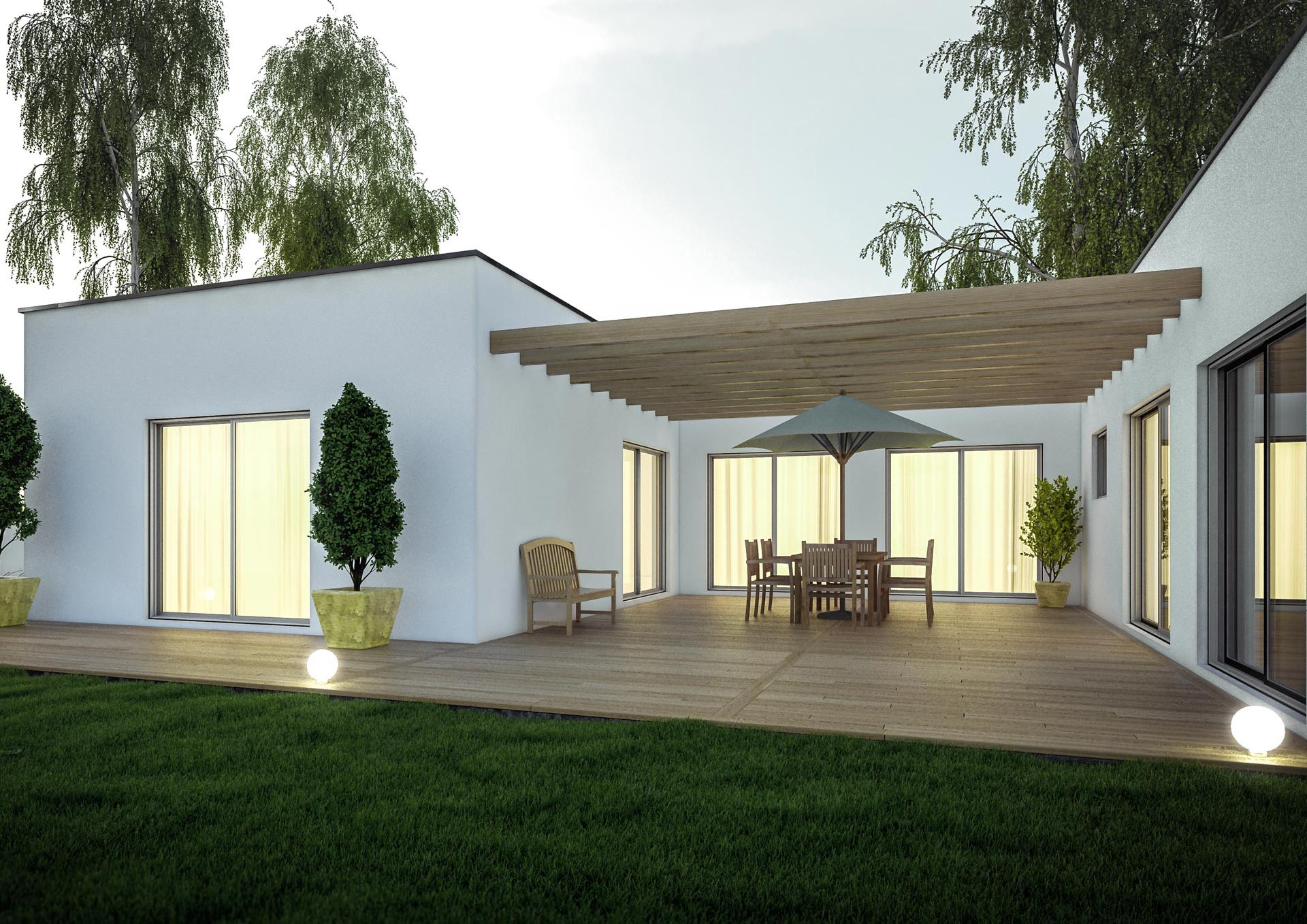 Superbe Extension Maison Design Pergola Terrasse Grandes Images