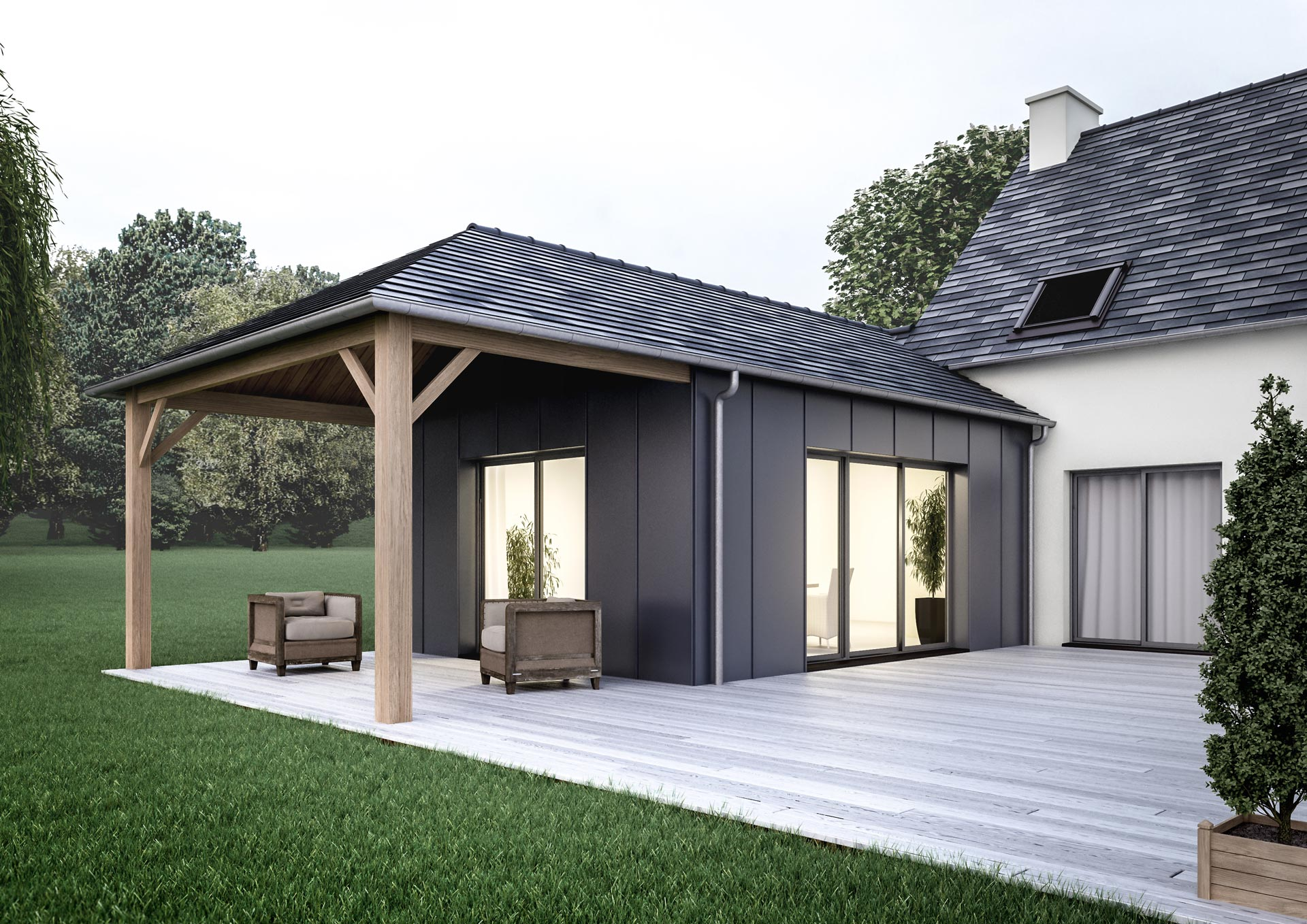 Extension de maison traditionnelle pour agrandir sa maison - Maison contemporaine solar solutions design ...