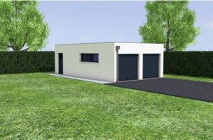 extension garage toit plat double independant pipriac 35