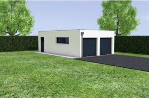 extension garage toit plat double independant pipriac 35