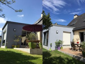 agrandissement maison toit plat 35520