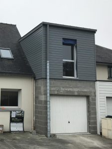 agrandissement maison garage bois parpaing bardage