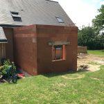 extension maison mur brique laillé 35890
