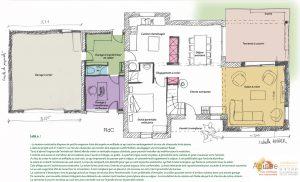 plan agencement intérieur extension garage maison morhiban 56