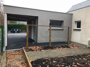 Extension de garage avec carport à toit plat (35170)