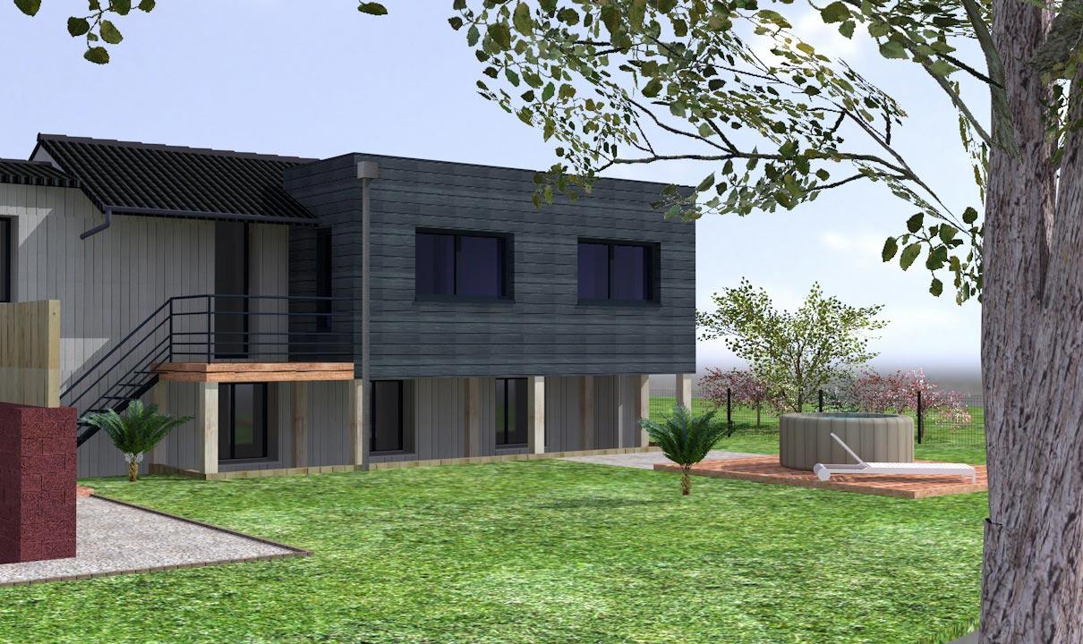 Extension maison pilotis maison ossature bois avec for Maison bois sans permis de construire