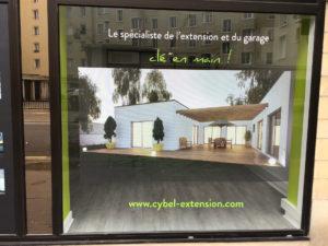 vitrine agence extension maison caen