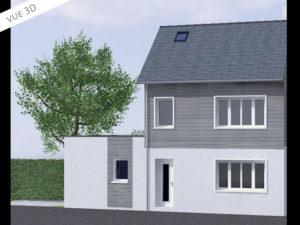 3D plan extension maison 50110