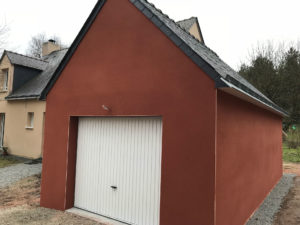 extension garage enduit rouge 44500