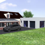 plan 3d extension maison garage 45700