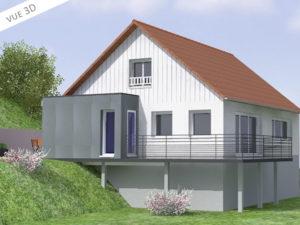 plan 3D extension maison 74140