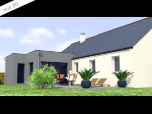 plan 3D extension maison 44260