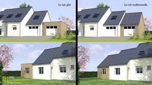 Projection toit plat et toit traditionnel