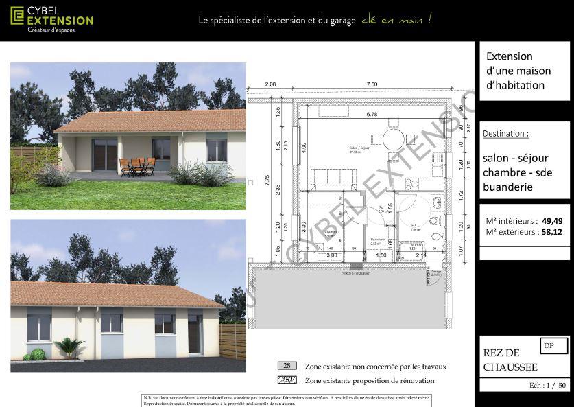 Plan d'un agrandissement de maison accolé
