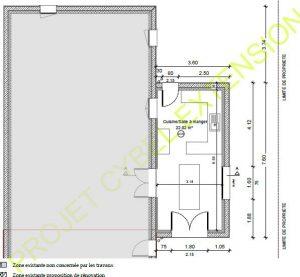 Plan de l'agrandissement de cuisine en façade